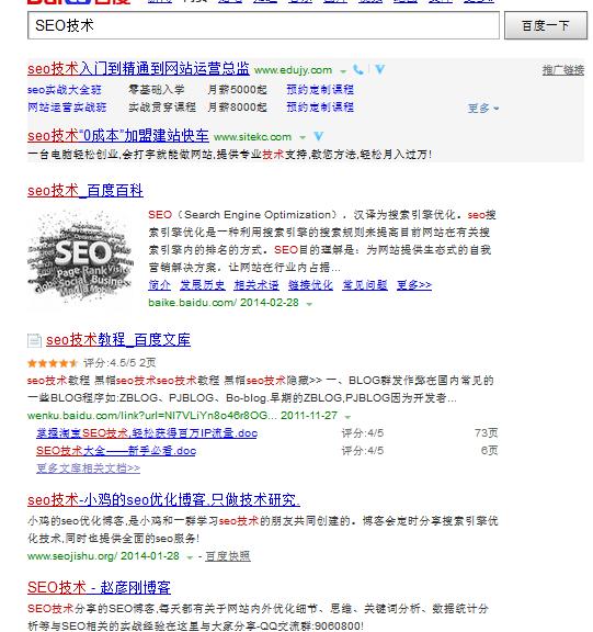 """百度网页搜索""""seo技术""""排名展现"""