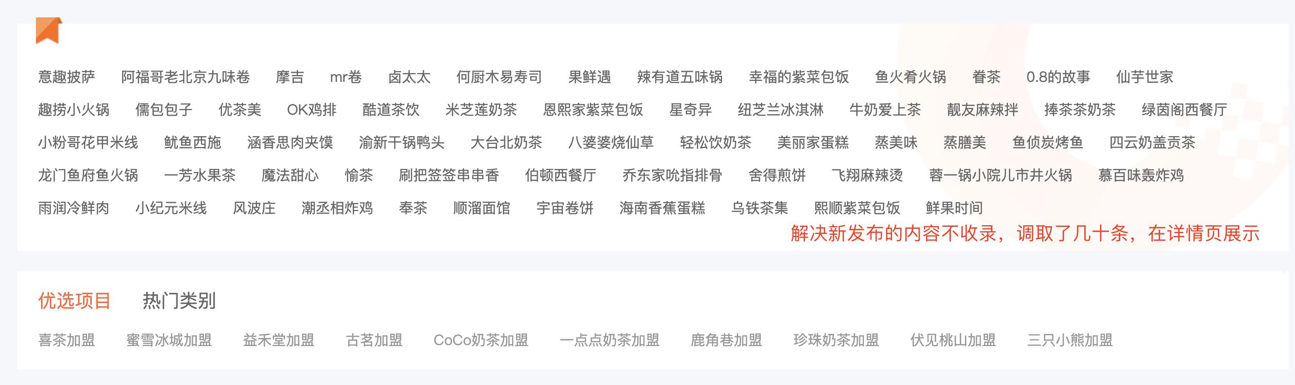 某网站增加了解决收录问题的链接策略示例图